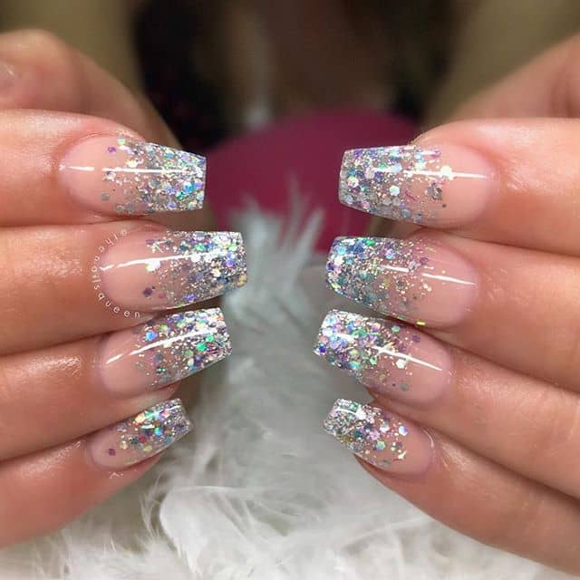 Natural Nails with Glittered Tips of Silver