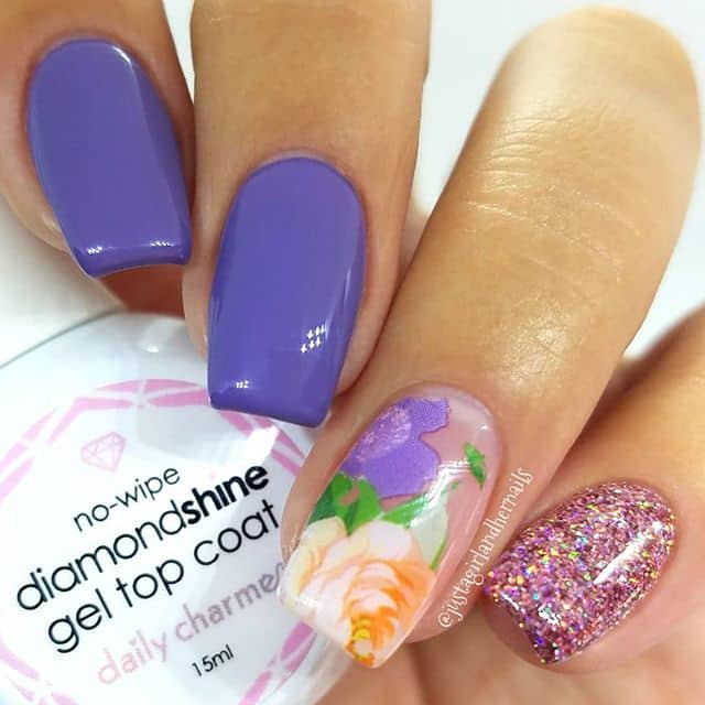 Gorgeous Lilac Nails with a Rose Accent
