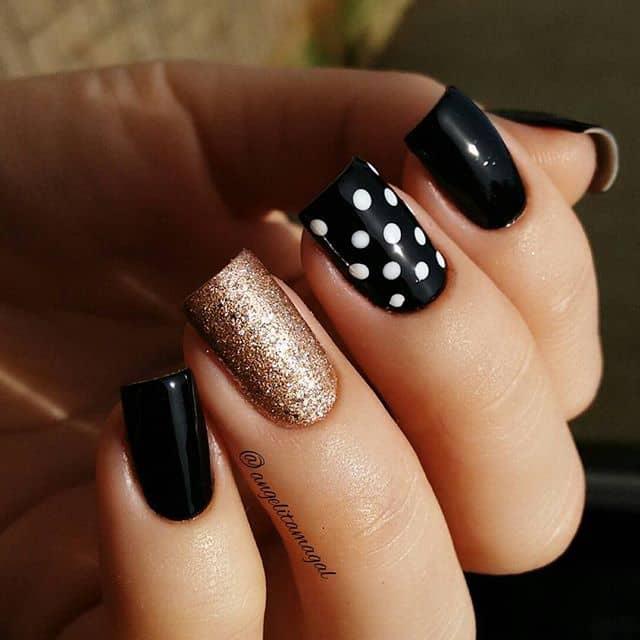 Cute Square Polka Dot Nails