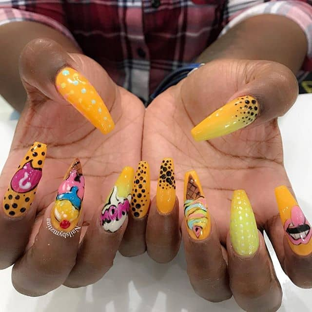 Yellow Nails with Dots and Cute Designs