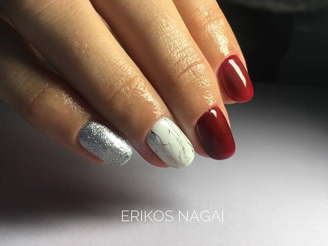 Fancy Red Nail Polish with a Marble Twist