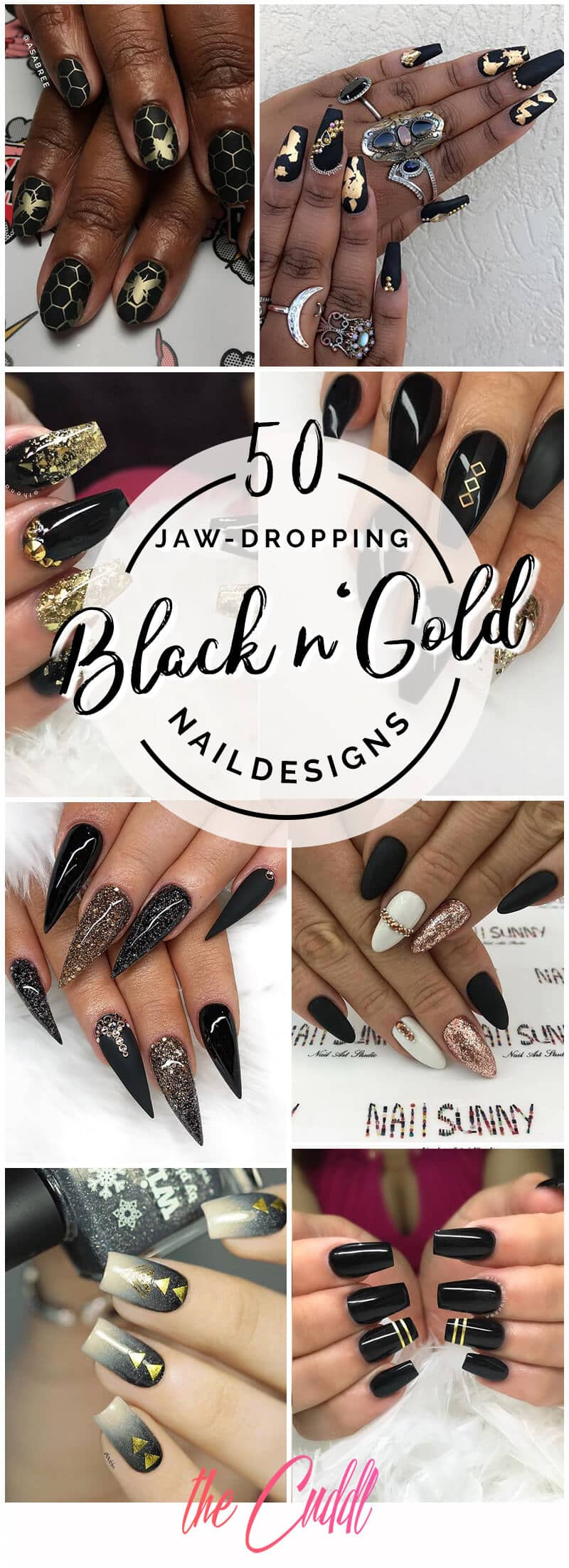 50 Jaw-Dropping Designs for Black and Gold Nails That Will Make You Gasp