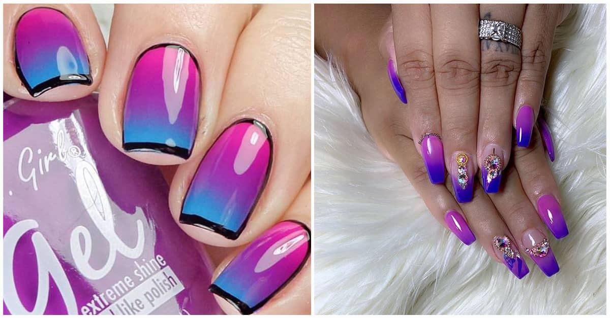 Pink And Purple Coffin Nails - Nail Art Gallery  Purple And Pink Nails