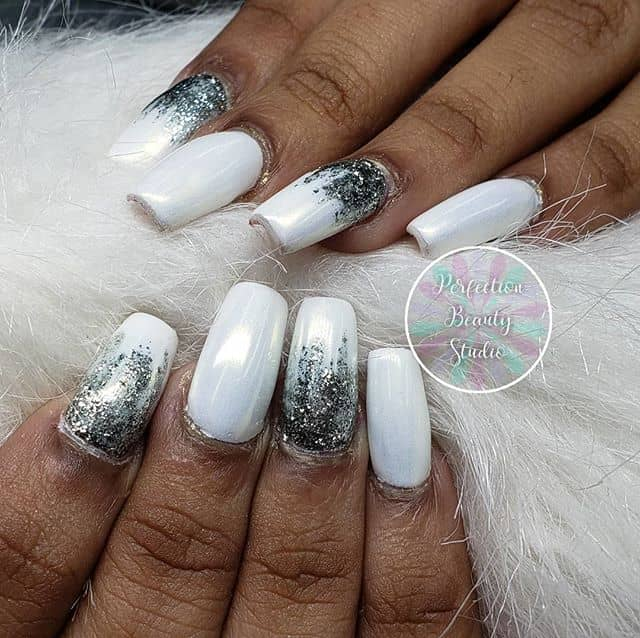 Awesome White and Silver Glitter Ombre
