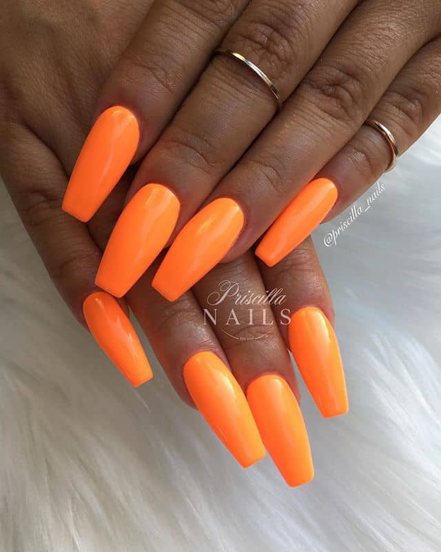 Ballerina-Shaped Nails in Electrifying Orange