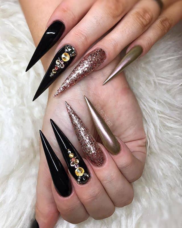 Black and Gold Metallic Sky-high Stilettos