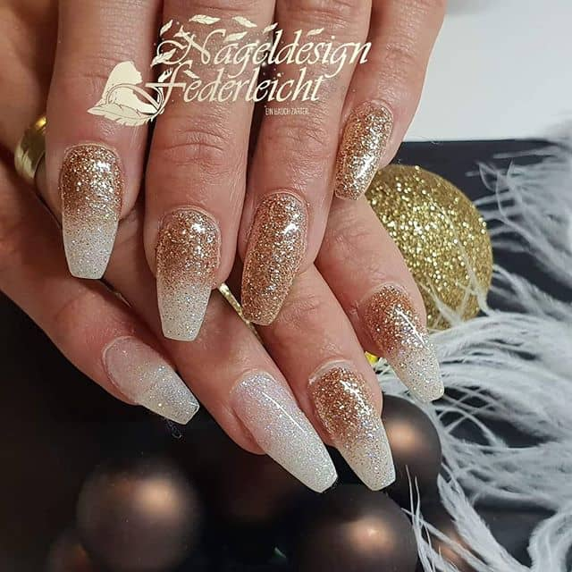 Beautiful Gold Glitter and White Ombre Nails