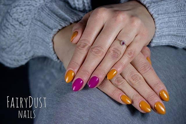 Indigo and Mustard Orange Nails