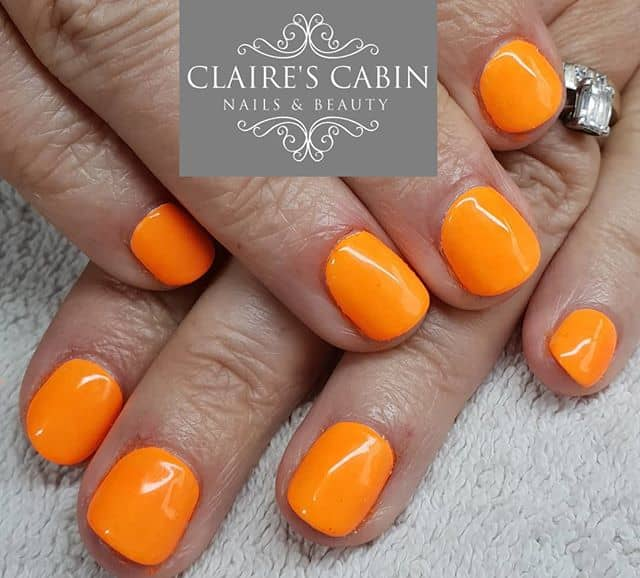 Cute, Short, and Neon Orange Nails