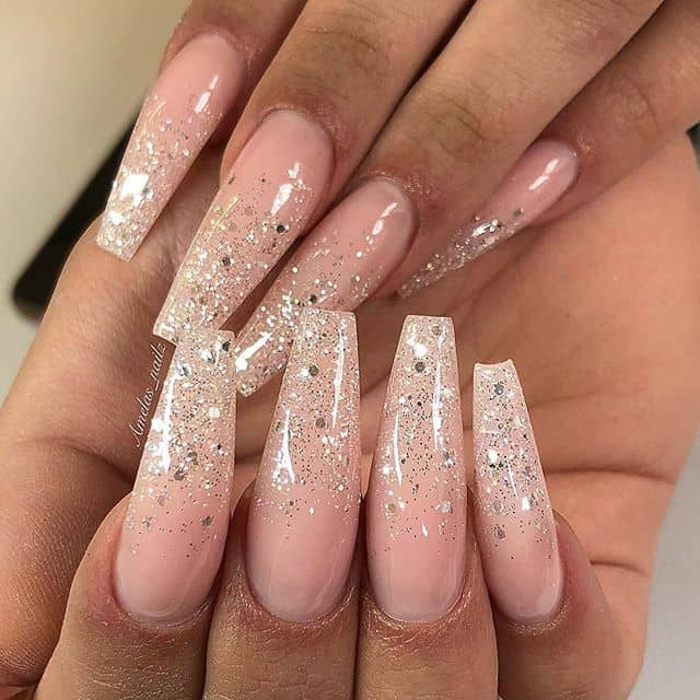 Pearl and Pink Silver Glitter Nails