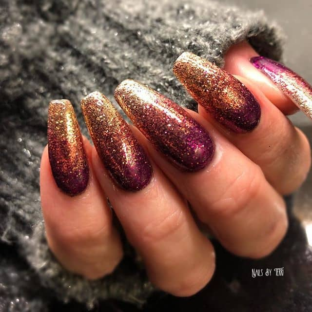 Golden Plum Gilded Ombre Nails