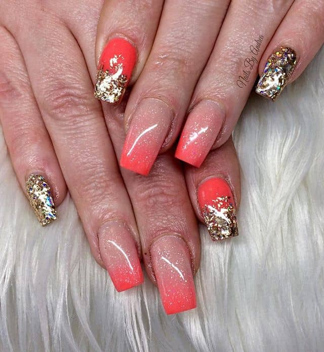 Beautiful Orange and Gold Nails