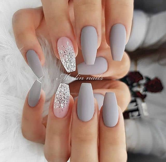 Silver and Grey Ombre Nails