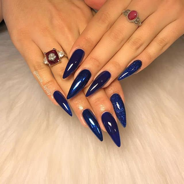 Deep Blue Nails that are Out of this World