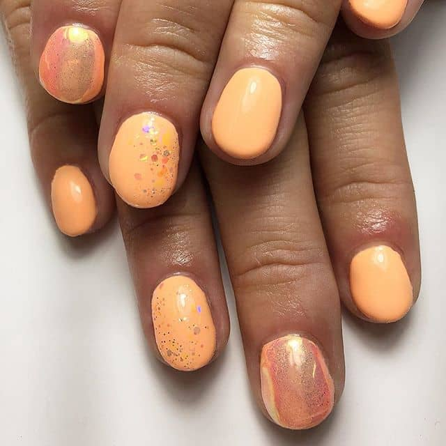 Glitter Dusted Pastel Orange Fairy Nails