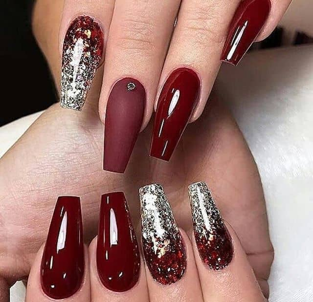 Red Glitter Gold Mountain Peak Nails