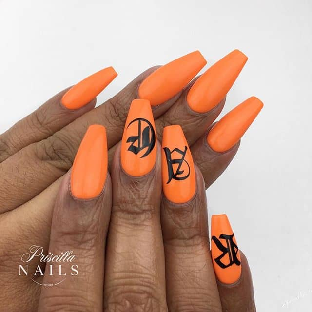 Orange and Black Monogrammed Nails