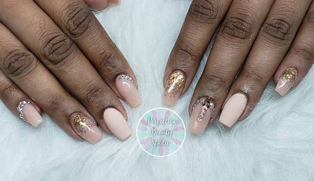 Peach and Gold Glitter Ombre Design