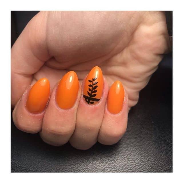 Brilliant, Botanical Black and Orange Nails