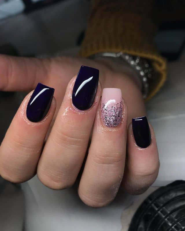 Navy Blue with Pink Ombre Glitter Nail