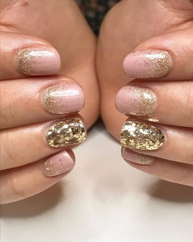 Champagne Rose Gold Glitter Nails