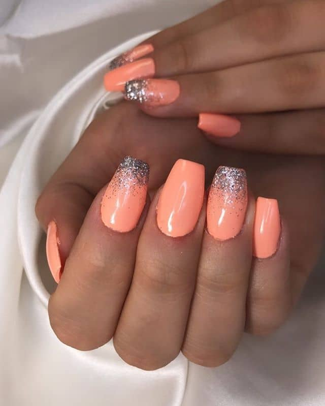 Pastel Coral with Sparkly Tips