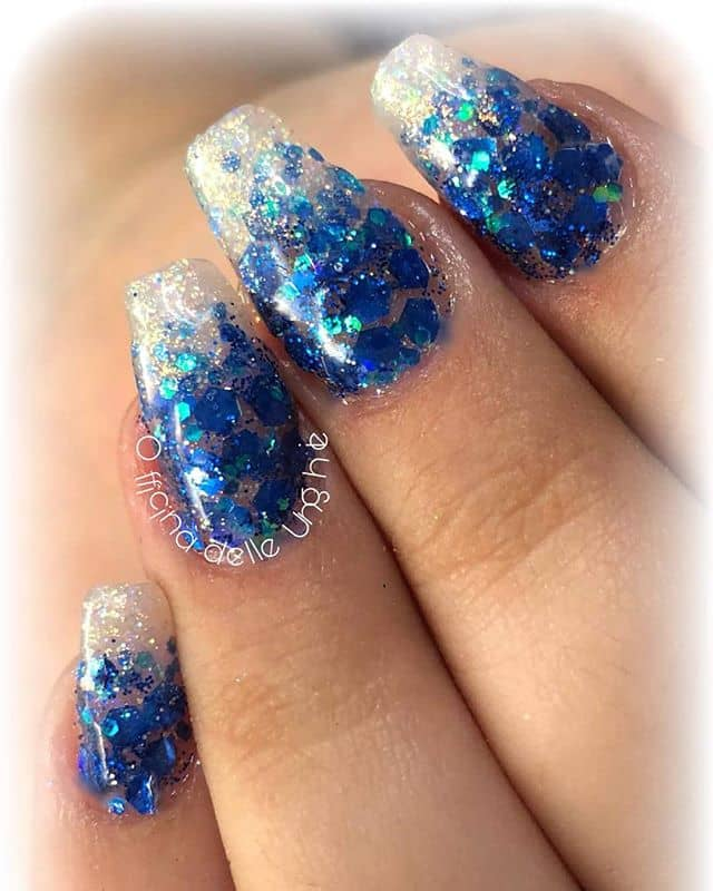 Silver and Blue Sparkle Ombre Nails