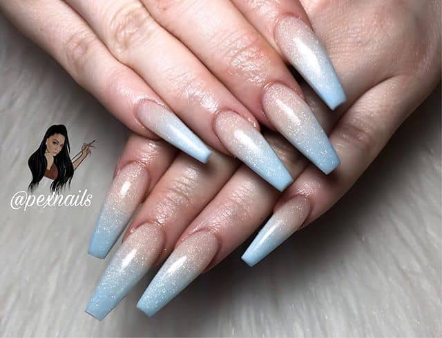 Long Ombre Pastel Blue Nails
