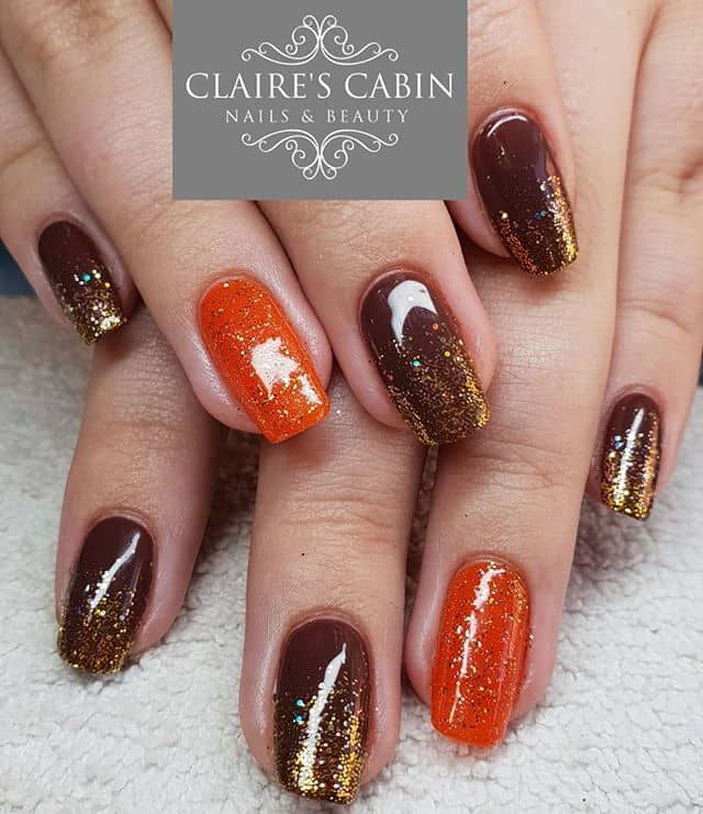 Autumnal Orange and Brown Nails