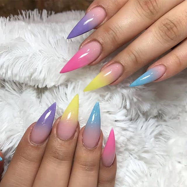 Light Candy Pastel Rainbow French Manicure