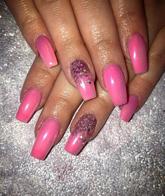 Fluorescent Pink Ombre with Glitter