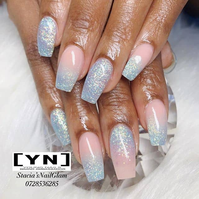 Icy Diamond Pink Glitter Ombre Nails