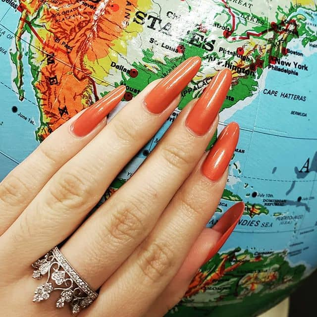 Super Long Copper Orange Nails