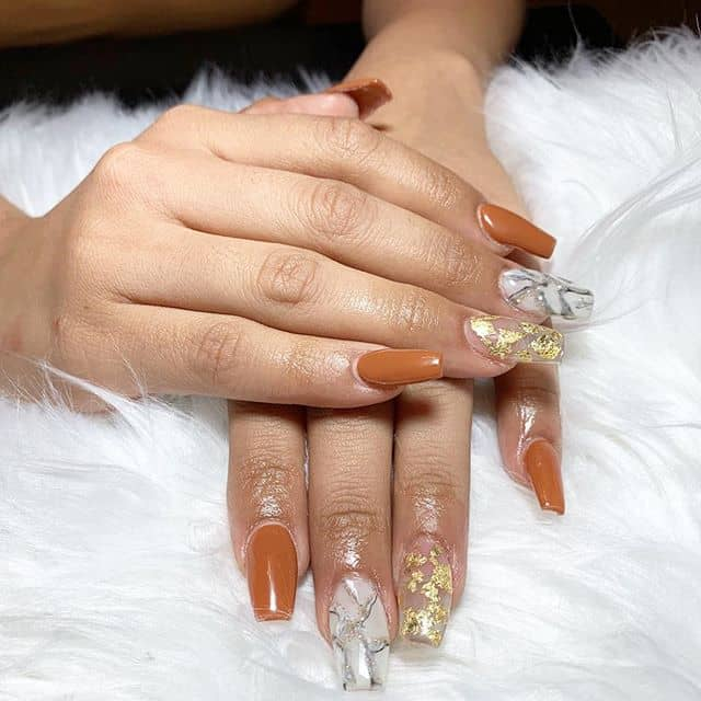 Burnt Orange Nails with Silver and Gold