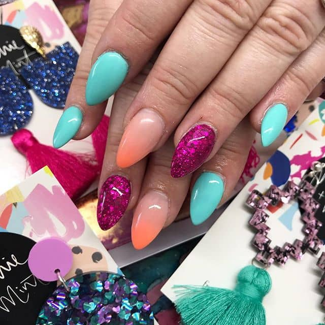 Bright and Bold Teardrop Nails