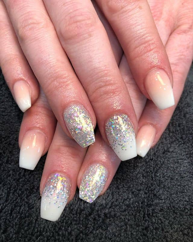 Silver Glitter Ombre with French Manicure