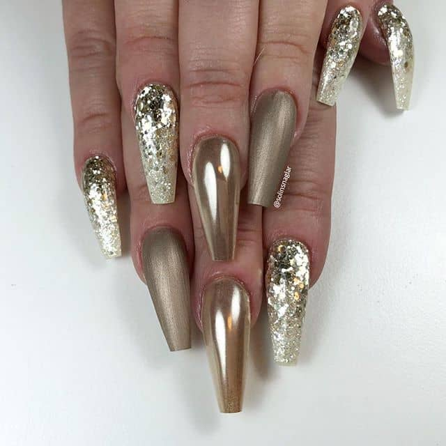 Bold Gold and Glitter Ombre Nails