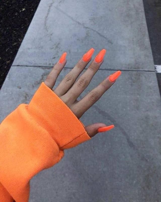 Long Nails in Electrifying Orange