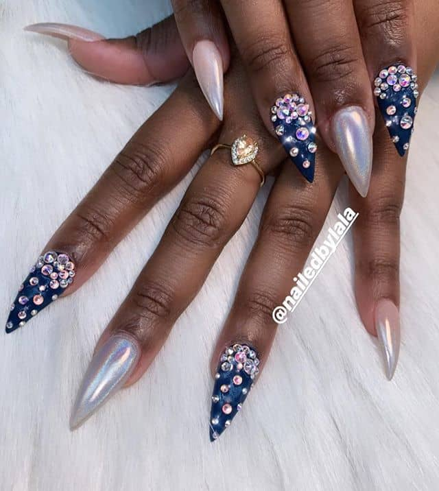 Diamond Speckled Deep Blue and Pear Nail Set