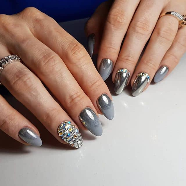 Metallic Glitter Nails with Stunning Silver Gems