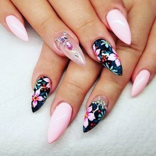 Stunning Black Floral Mountain Peak Nails with Embellishment