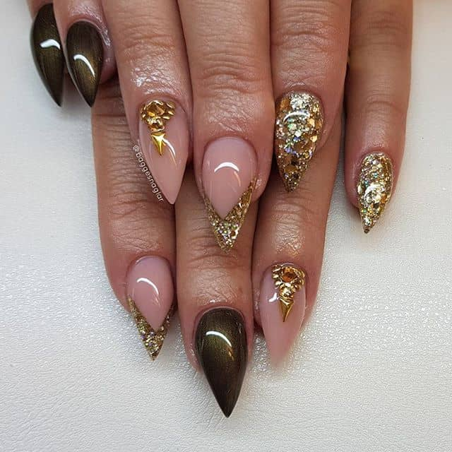 Glitzy Princess Stiletto Nails with Glam