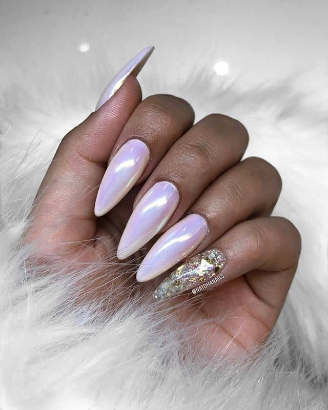 ounded Stiletto Pastel Pink Prom Nails