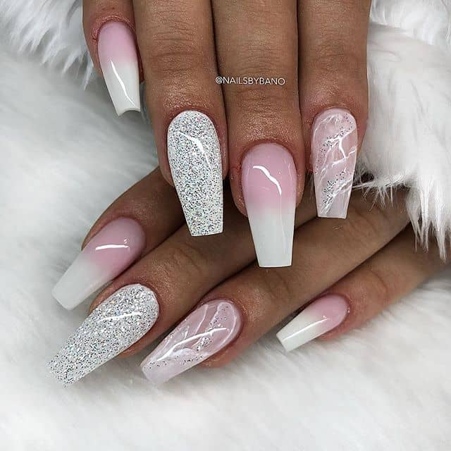 Pink and White Ombre nails with Marbled Accents