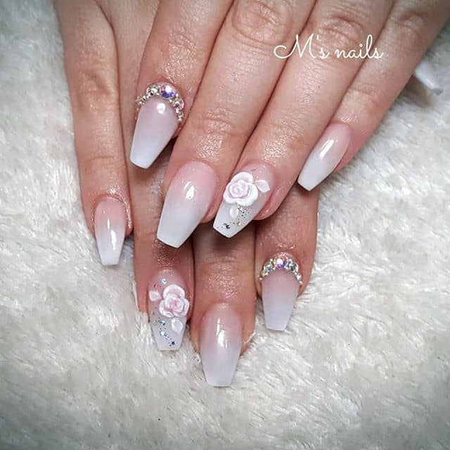 Stylish and Muted Ombre Babyboomer Acrylic Nails