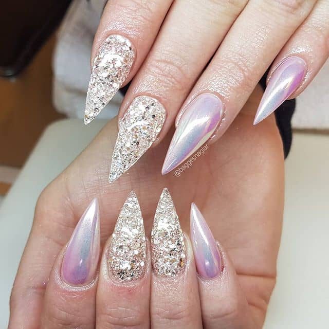 Daring Holochromatic and Textured Glitter Nails