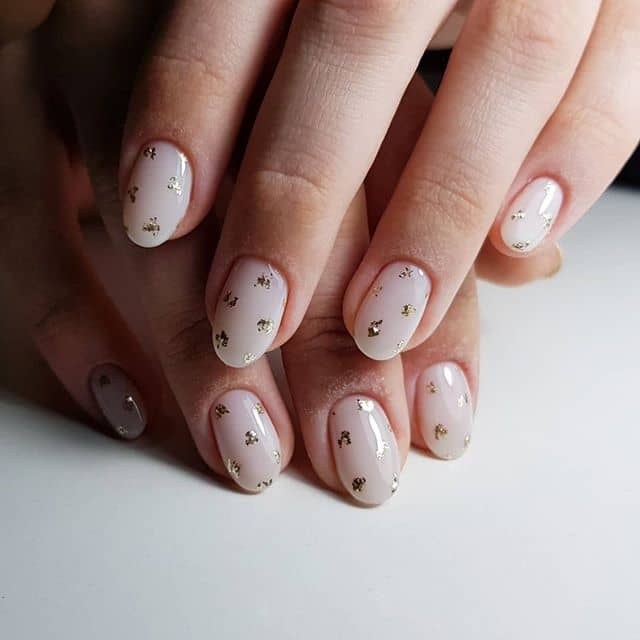 Subtle and Casual Gold Leaf Nails