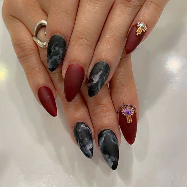 Matte Indian-inspired Almond nails With Marble and Deep Rose