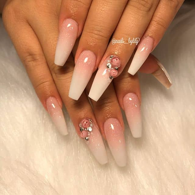 Cute Pink Ombre Nails with Rose Rhinestones