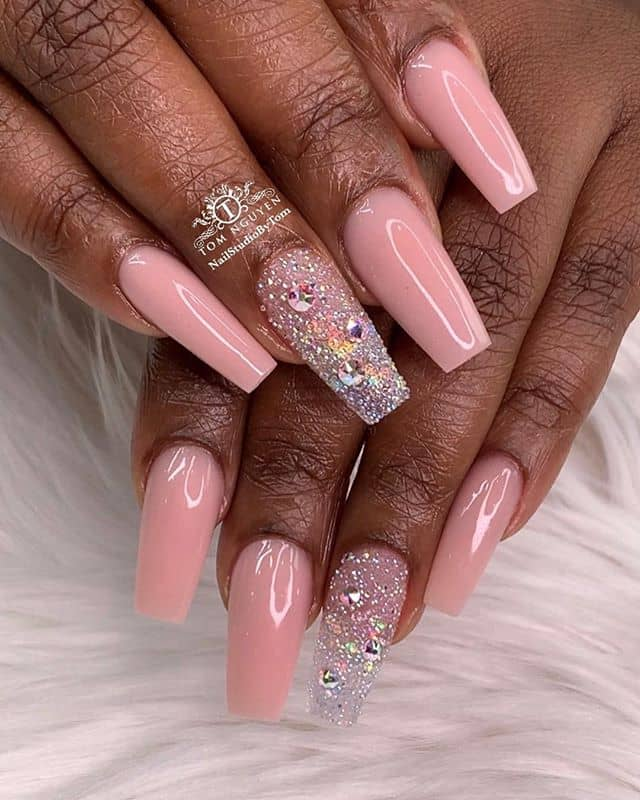 Pretty Crystals and Glitter Prom Nails